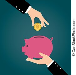 Business hand putting coin into a piggy bank, Saving and investing money concept