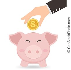 Business Hand Putting Gold Coin Into Cute Piggy Bank, Saving concept