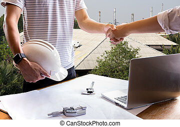 Business hand shake engineer construction shaking hand successful agreement
