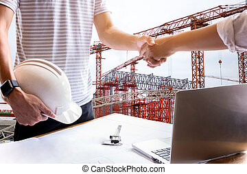 Business hand shake engineer construction shaking hand successful