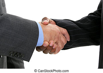 Business Hand Shake - Close-up of businessmen in suits...
