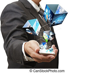 business hand shows touch screen mobile phone with streaming images