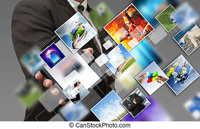 business hand shows touch screen mobile phone with streaming...