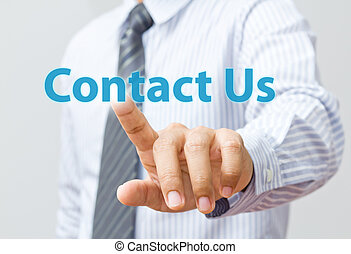 Business hand touch contact us
