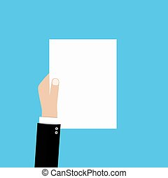 Business hand with a blank sheet of paper
