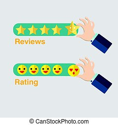 Business hand with star icon for reviews vector.Hand with emoji icon for rating.