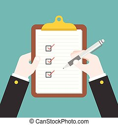 business hand writing document on clipboard, filling...