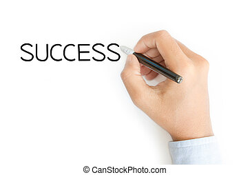 business hand writing success on white background