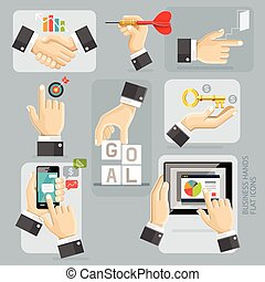 Business Hands Flat Icons Set. Vector Illustration.