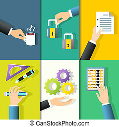 Business hands icons