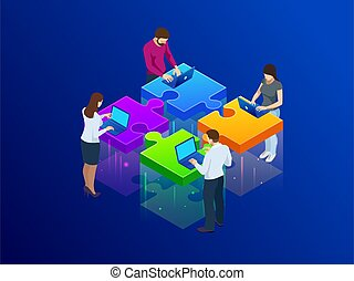 Business Hands putting puzzle pieces together vector illustration