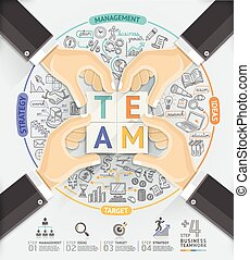 Business hands teamwork infographic