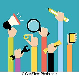 Business hands tools