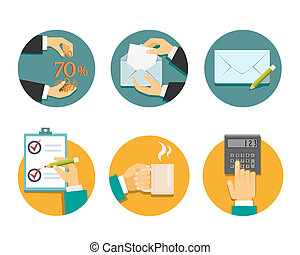 business hands with office objects vector illustration