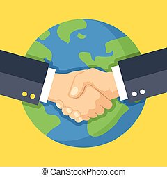 Business handshake and Earth
