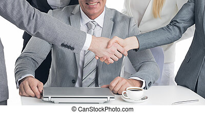 Business handshake at meeting