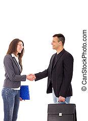 business handshake between two young people