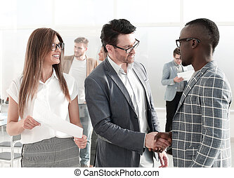 business handshake business people in the office.