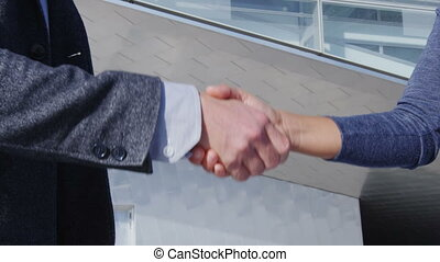 Business Handshake - business people meeting shaking hands, man and woman