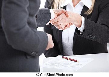 business, handshake., business, poignée main, et, professionnels, concept.