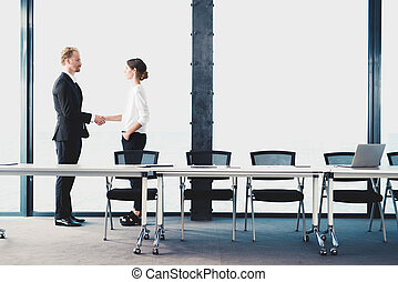 Business handshake. Concept of teamwork and partnership -...