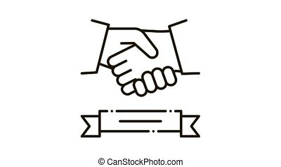 business handshake deal Icon Animation. black business handshake deal animated icon on white background