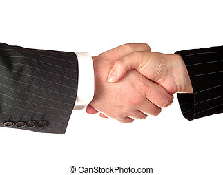 Business handshake deal - isolated on white background