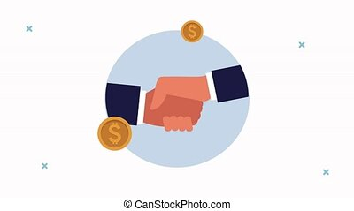 business handshake done deal and coins dollars successful animation ,4k video animated