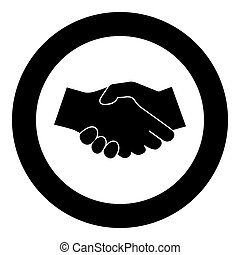 Business handshake icon black color in circle