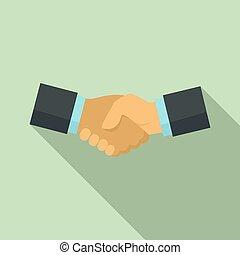 Business handshake icon, flat style