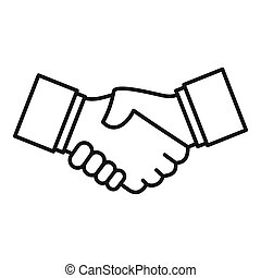 Business handshake icon, outline style