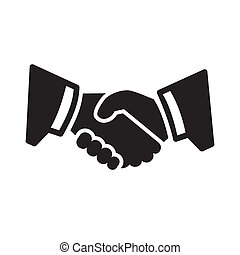 Business Handshake Icon. Two mans hands in suits. Vector.
