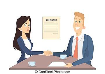 Business handshake illustration.