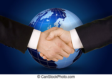 Business handshake. Image of businesspeople handshake on the...