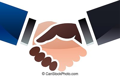 Business handshake in color
