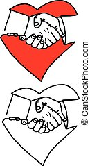 business handshake in heart sign - vector illustration sketch hand drawn with black lines, isolated on white background
