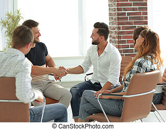 business handshake in modern office. the concept of cooperation.