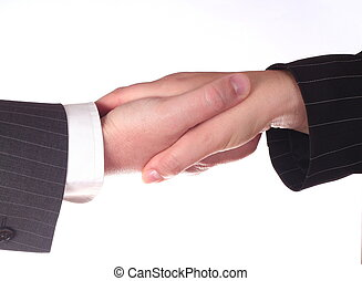 Business handshake man and woman - isolated on white background