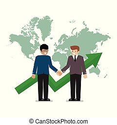 Business handshake on the background of world map