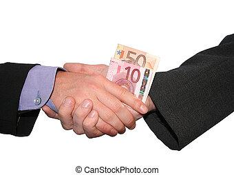 business handshake - a business handshake with money
