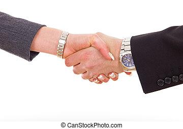 business handshake between man and woman colleagues