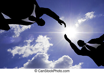 business handshake - special lens flare f/x (silhouette made...