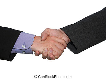 business handshake isolated on white