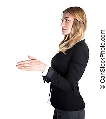 Business handshake - Portrait of attractive business lady...