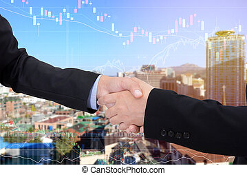 business handshake with city background, Double exposure style