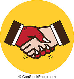 Business handshake with the devil. Vector illustration - A ...