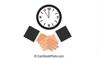business handshake with watch clock