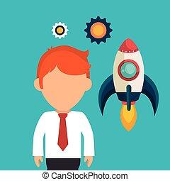 business, haut, début, entrepreneur, compagnie