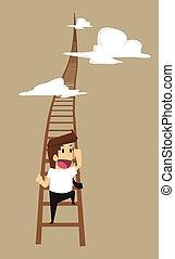business, haut, position, montée, homme, escalier, plus haut