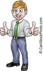 business, haut, pouces, heureux, dessin animé, homme